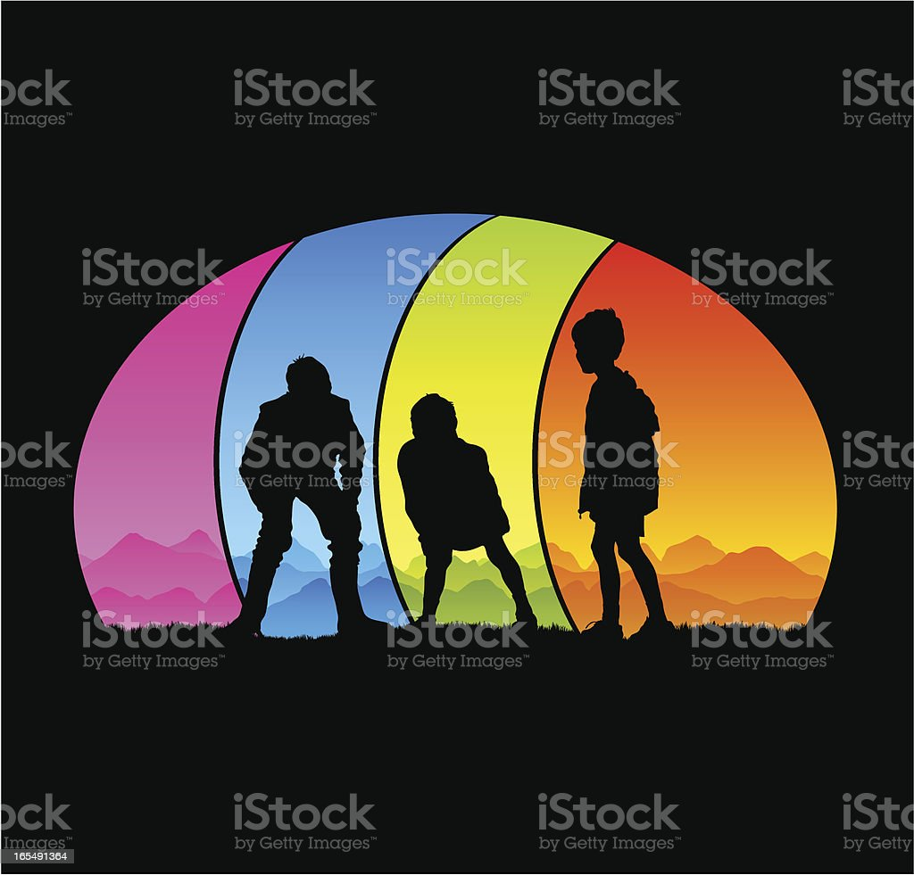 Young boys playing against colorful background royalty-free stock vector art