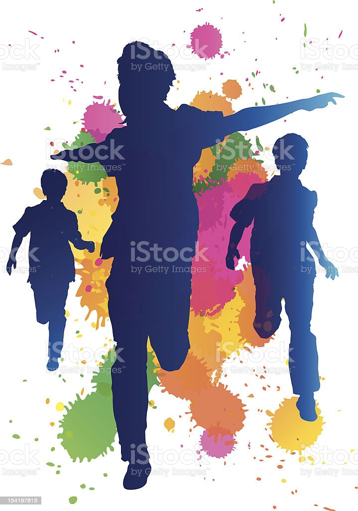 Young boys running against a paint splatter background vector art illustration