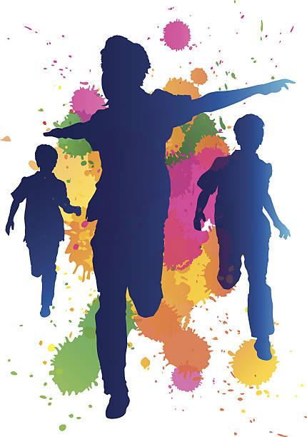 Young boys running against a paint splatter background vector art illustration