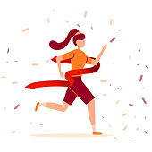 Young brunette athlete girl runs a marathon and finishes first the finish line. Victory in a sport running race. Vector illustration.