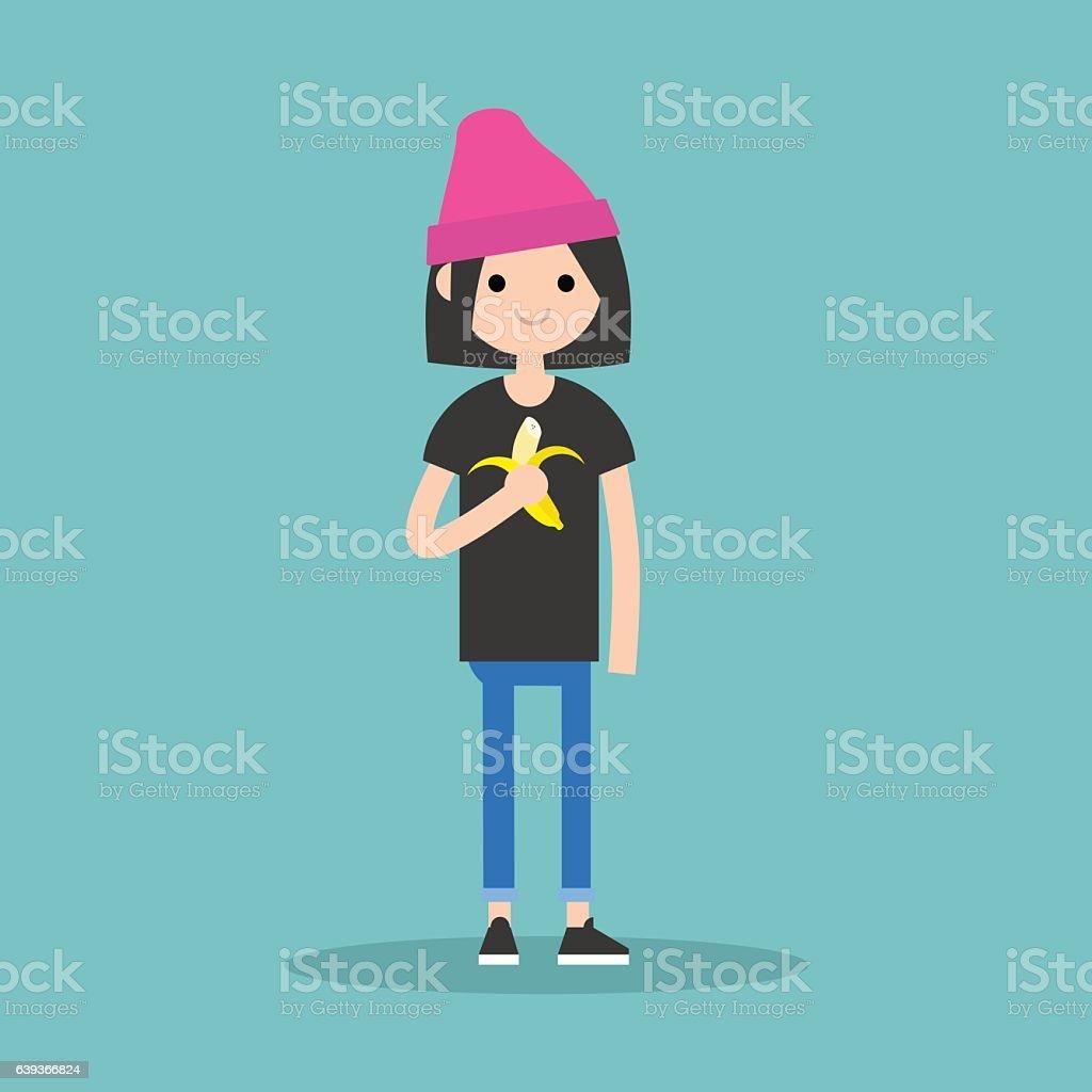 Young brunette girl eating banana vector art illustration