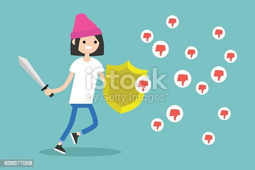 istock Young brunette girl fighting against negative reactions in social media 639377058