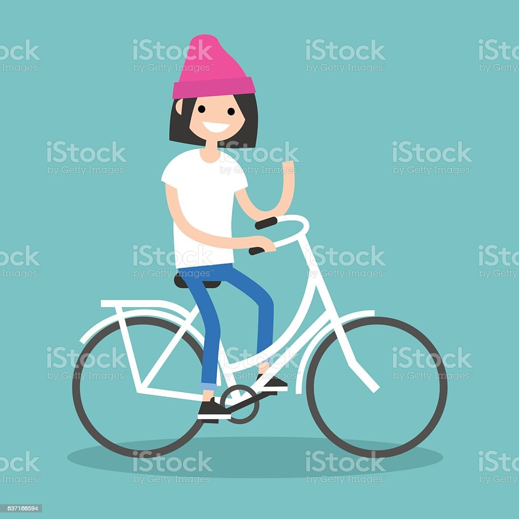 Young brunette girl riding a bike and waving her hand vector art illustration