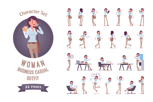 Young Business Casual Woman Readytouse Character Set Stock Illustration - Download Image Now