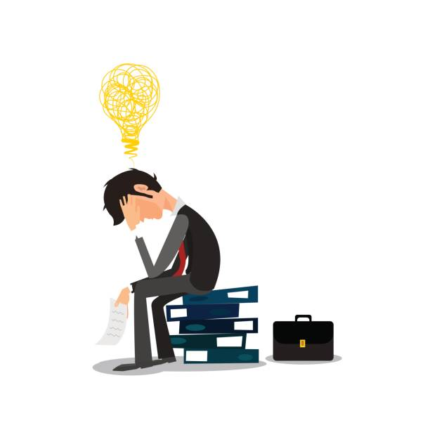 illustrazioni stock, clip art, cartoni animati e icone di tendenza di young business man with problems and stress in the office - uomo stanco