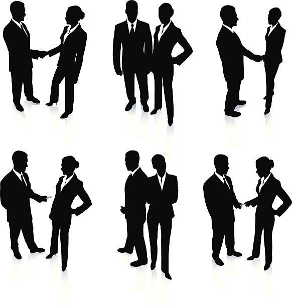 stockillustraties, clipart, cartoons en iconen met young business people silhouettes - in de camera kijken