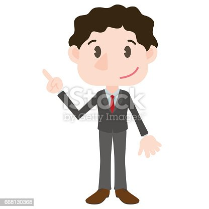 young business person cartoon character pointing hand sign