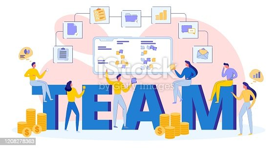 Young Business Successful Team, Teamwork Concept. Group of People, Men and Women Busy their Work, Large Letters on Background, Display with Notes. Icon Chain Document, Folder, Email, Money