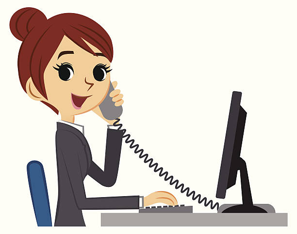 young business woman at desk with phone and computer - receptionist stock illustrations, clip art, cartoons, & icons