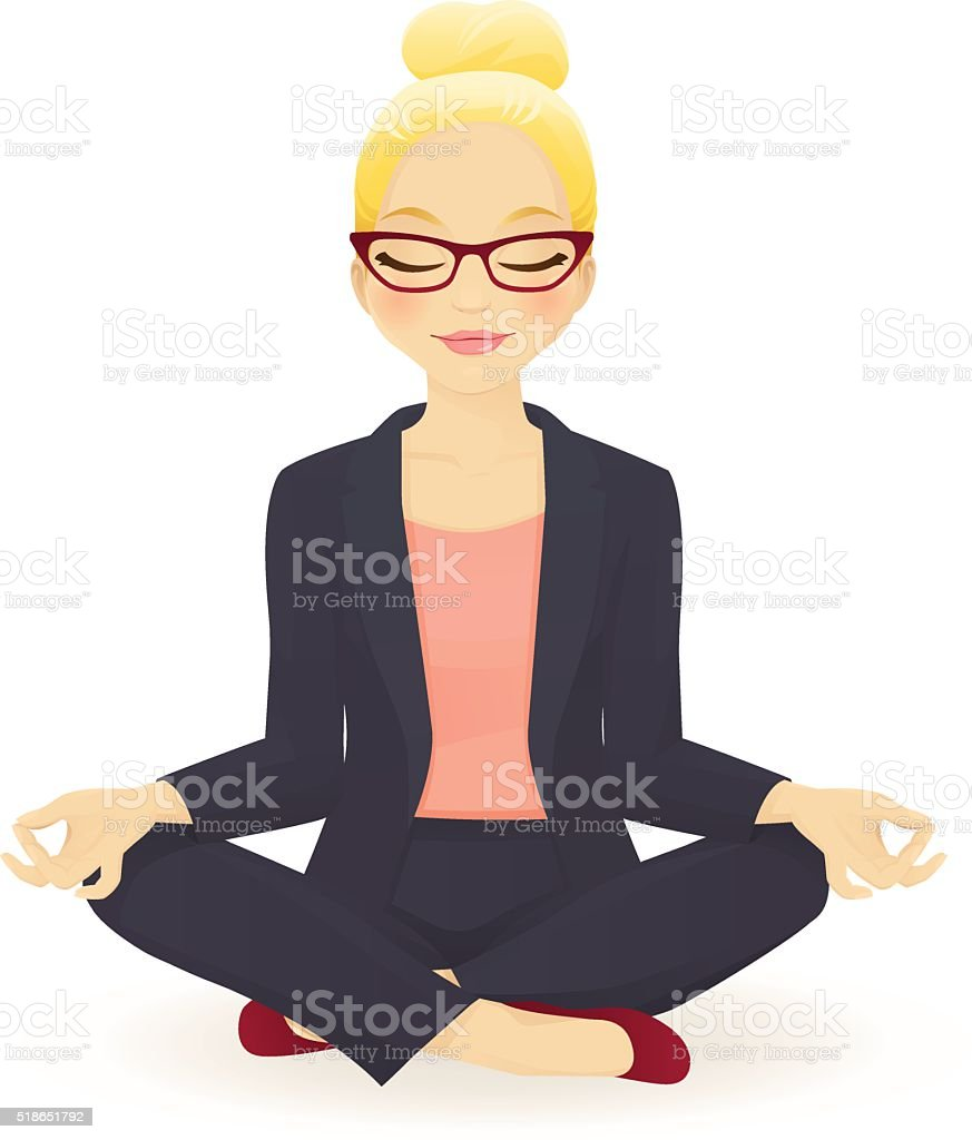 Young business woman in yoga lotus pose vector art illustration