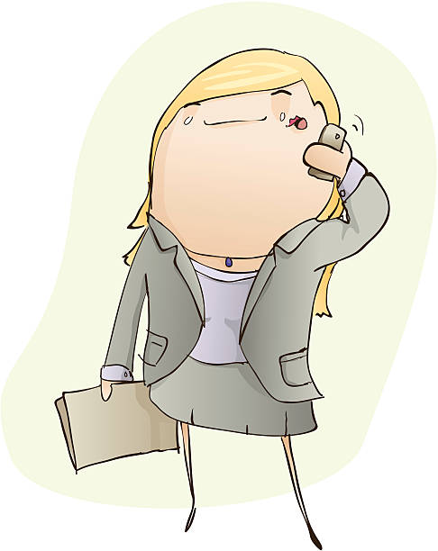 Young Business Woman on the Phone vector art illustration