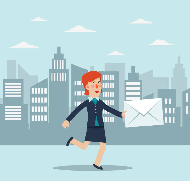 ilustrações de stock, clip art, desenhos animados e ícones de young business woman running in the city street. post letter, delivery service or e-mail vector concept - young woman running city
