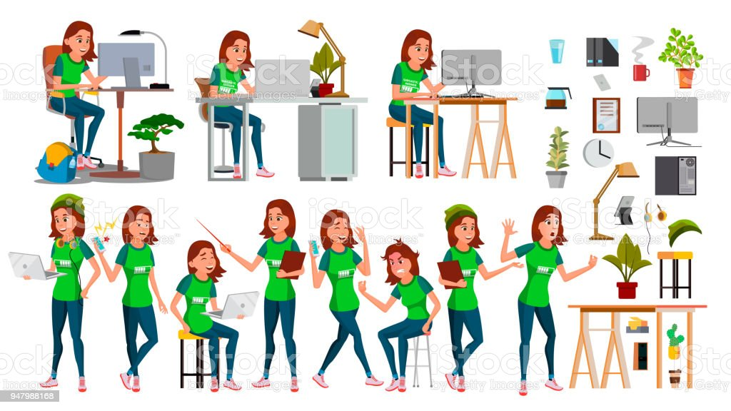 Young Business Woman Set Character Vector. In Action. IT Startup Business Company. Environment Process. Teen. Cartoon Illustration vector art illustration