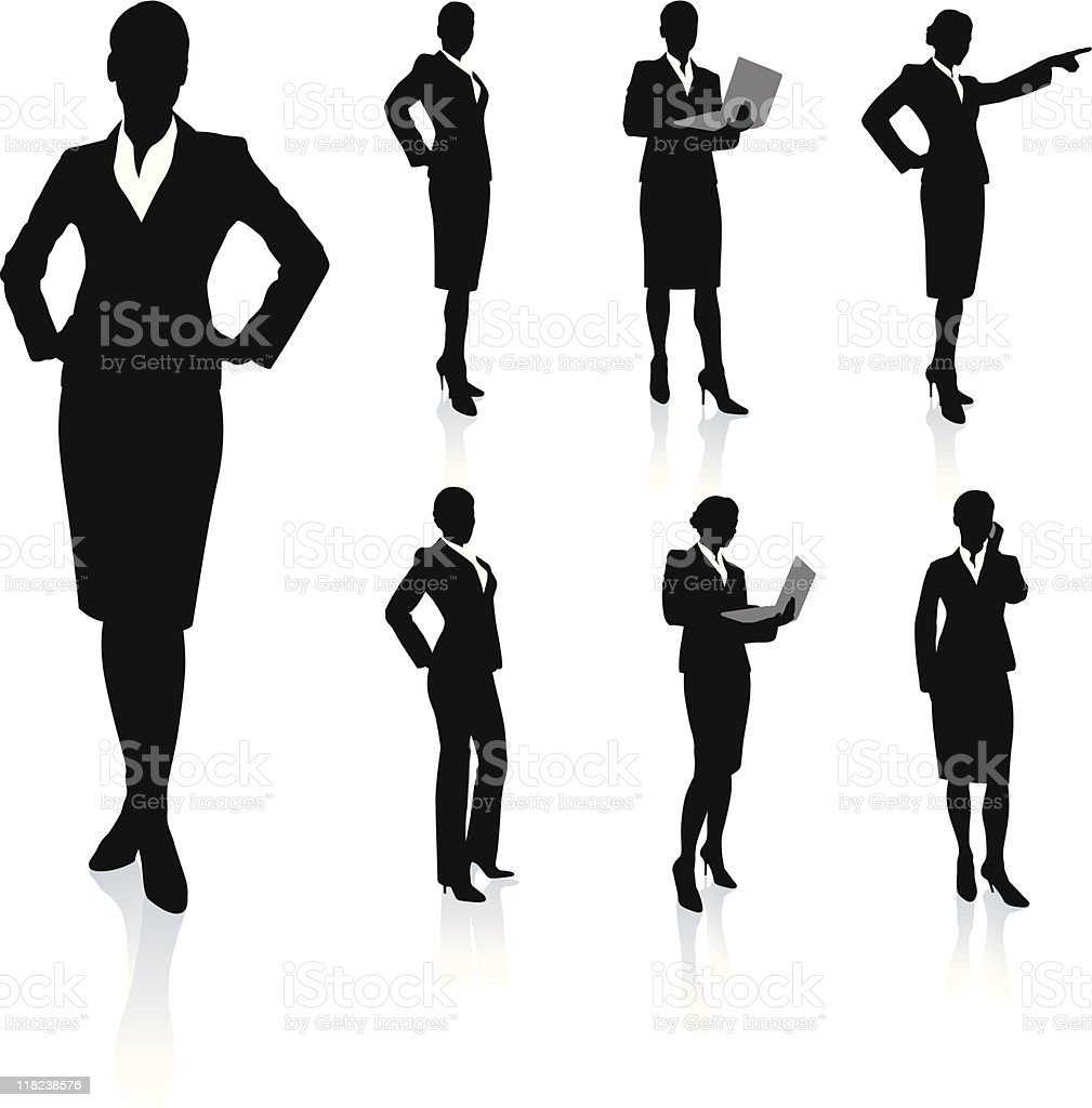 Young business woman silhouettes vector art illustration