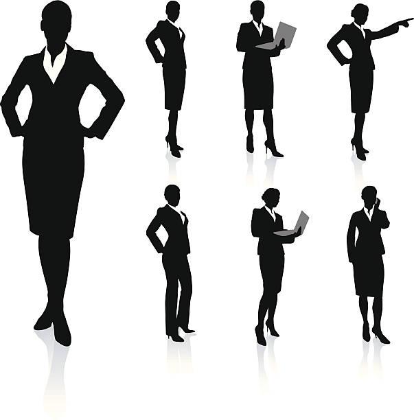illustrazioni stock, clip art, cartoni animati e icone di tendenza di silhouette di giovane donna d'affari - business woman