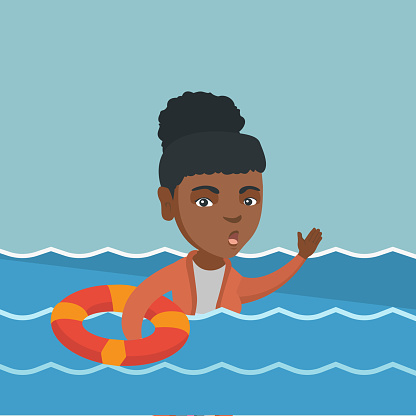 Young business woman sinking and asking for help