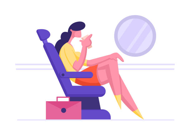 young business woman sit in comfortable airplane seat and drinking beverage. businesswoman passenger travel by plane for corporate trip. airline transportation service cartoon flat vector illustration - airplane seat stock illustrations