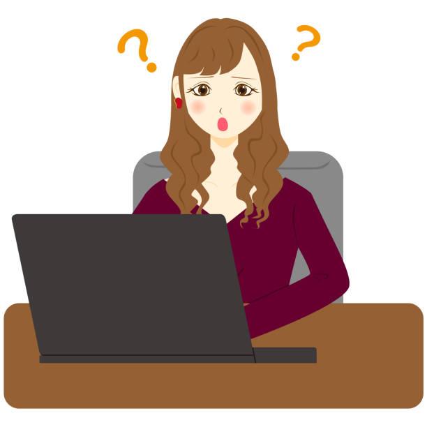 ilustrações de stock, clip art, desenhos animados e ícones de young business woman using computer. question mark. - mulher deixar ir