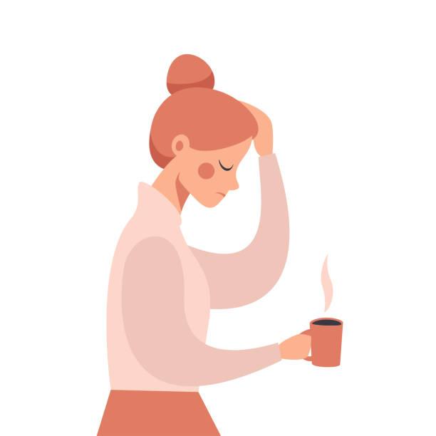 ilustrações de stock, clip art, desenhos animados e ícones de young business woman with severe headache holding his hand on the head. - deceção