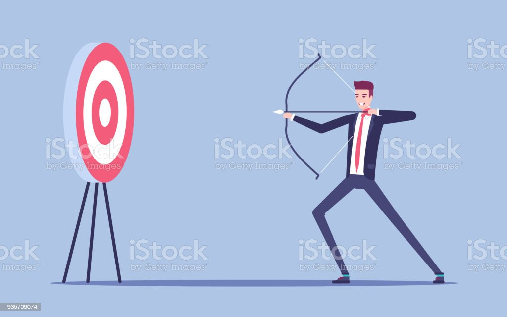 Young Businessman Aiming At The Target With Bow And Arrow Vector Flat Illustration Man