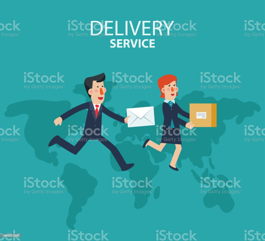 Young businessman and business woman running over the world map post young businessman and business woman running over the world map post letter delivery service gumiabroncs Images