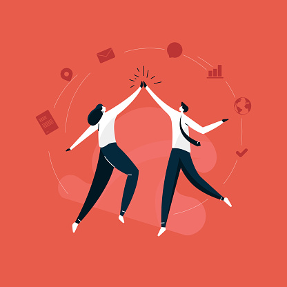 young businessman and business women giving a high five vector, business success celebration illustration, hands in a gesture
