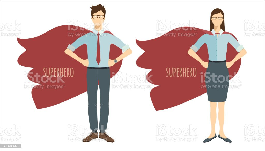 Young businessman and businesswoman in flat style. Superhero. vector art illustration