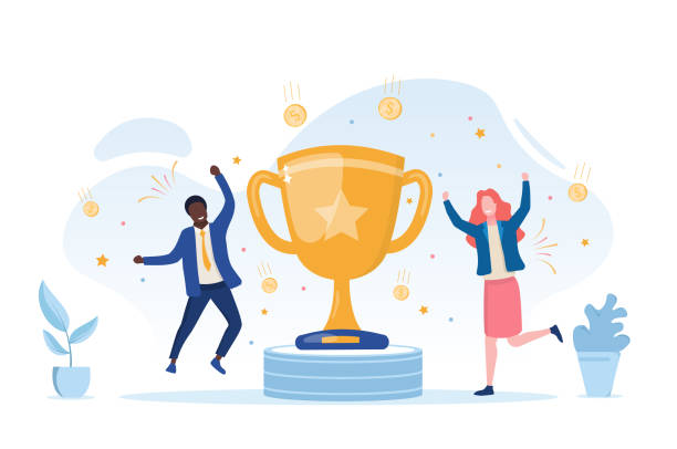 Young businessman and woman reaping the reward Young businessman and woman reaping the reward for their achievements celebrating and cheering on either side of a gold cup, vector illustration achievement stock illustrations