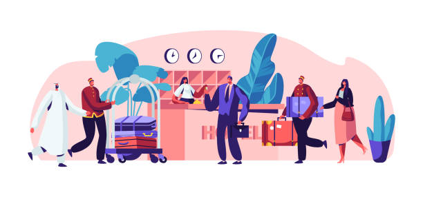 young businessman at hotel reception. clerk standing behind desk and extending hand with key to man. lobby interior with stuff meeting arabic and european guests. cartoon flat vector illustration - hotel reception stock illustrations