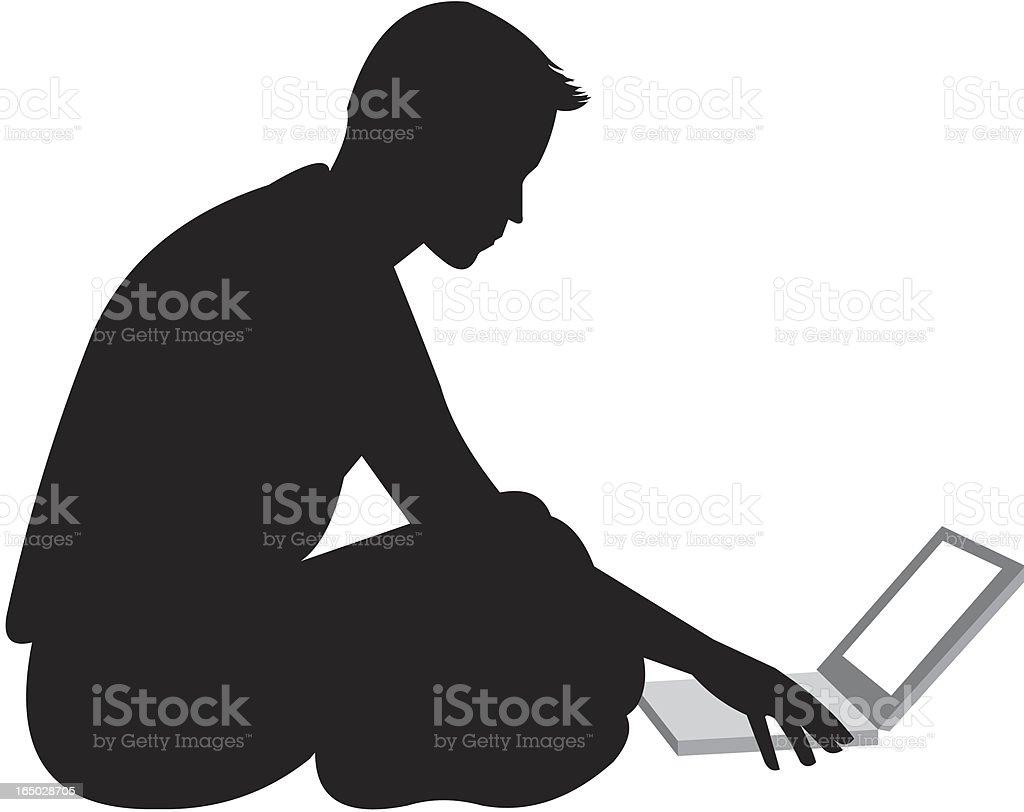 young businessman at laptop vector art illustration