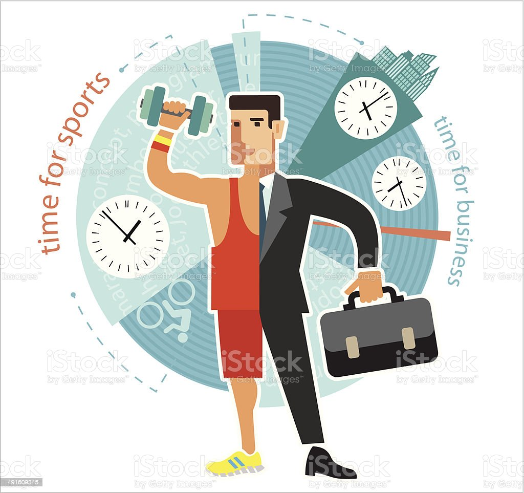 Young businessman dealing with sports. Flat design. vector art illustration