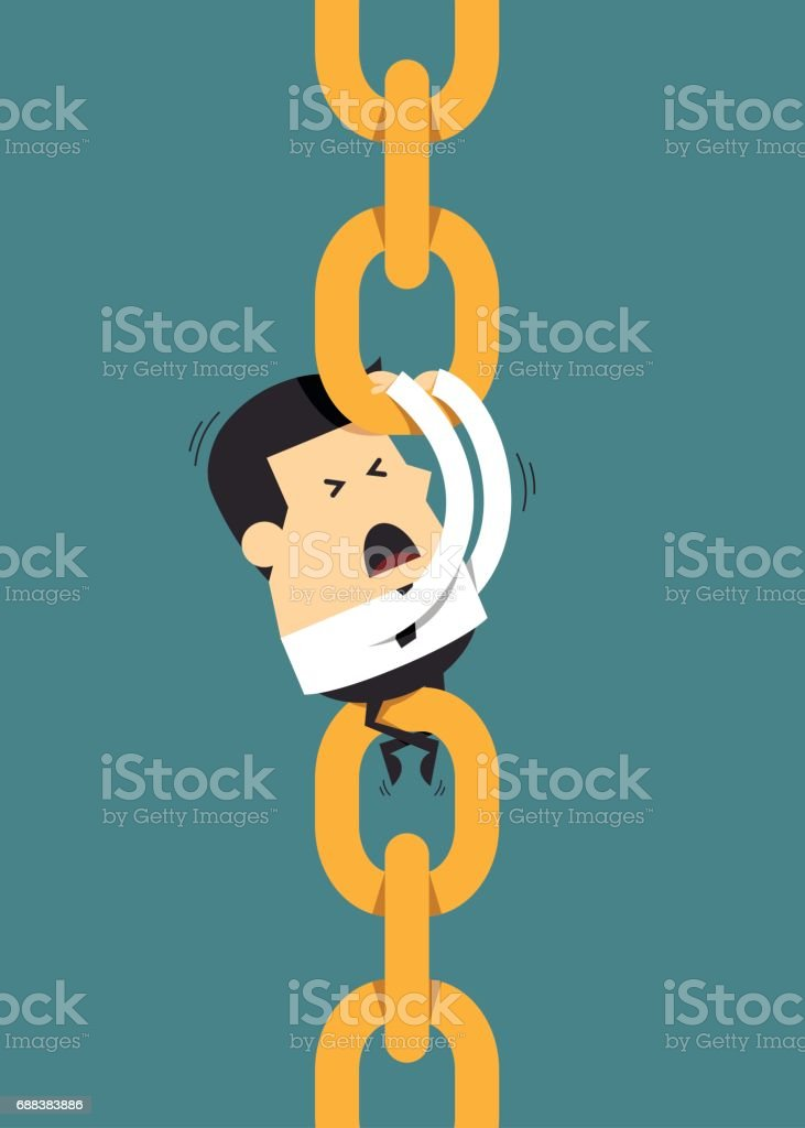Young businessman holding chain together, Business concept向量藝術插圖