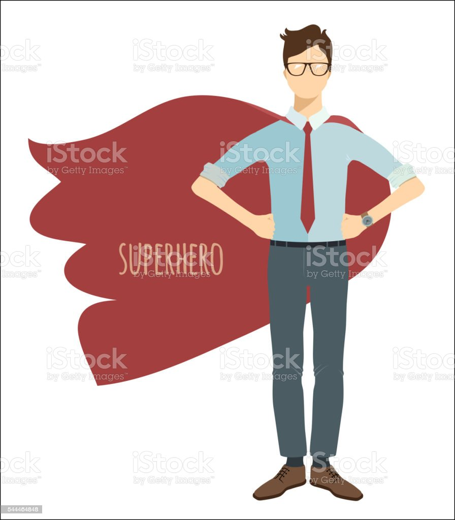 Young businessman in flat style. Superhero. vector art illustration
