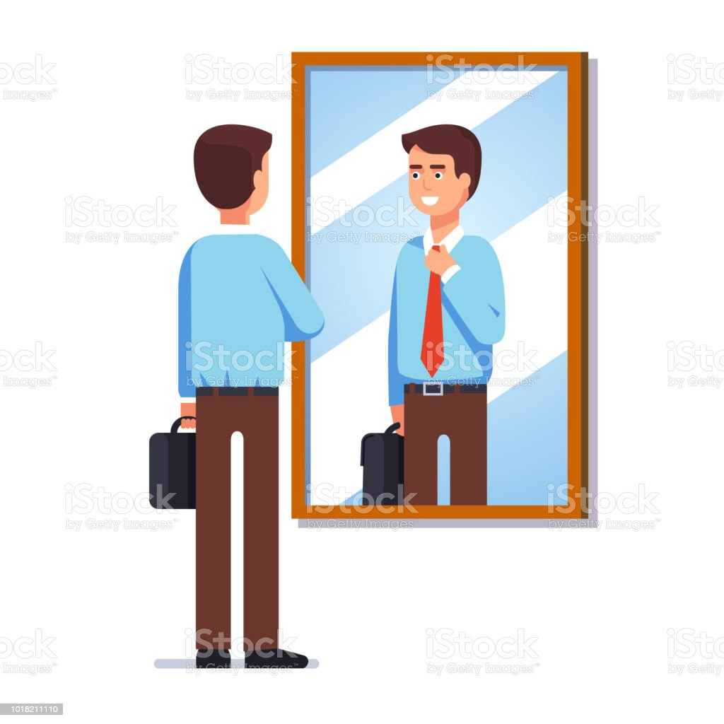 Young businessman looking at his reflection in wall mirror fixing necktie getting ready for work. Flat vector clipart illustration. vector art illustration