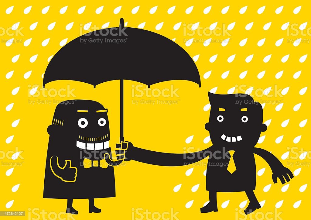 Young Businessman Offers Umbrella   Yellow Business Concept royalty-free stock vector art