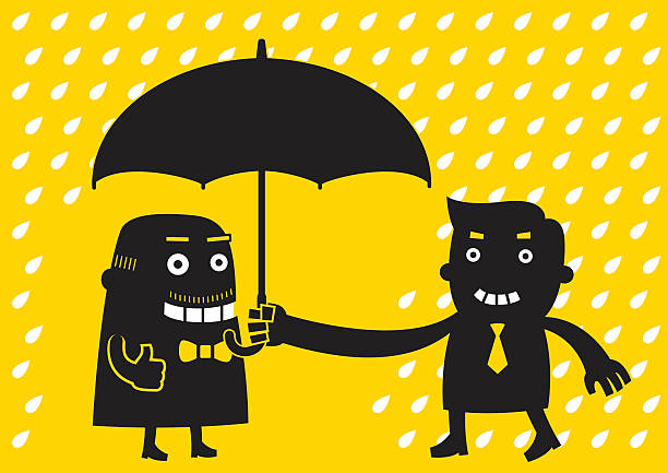 young businessman offers umbrella | yellow business concept - old man showing thumbs up cartoons stock illustrations, clip art, cartoons, & icons