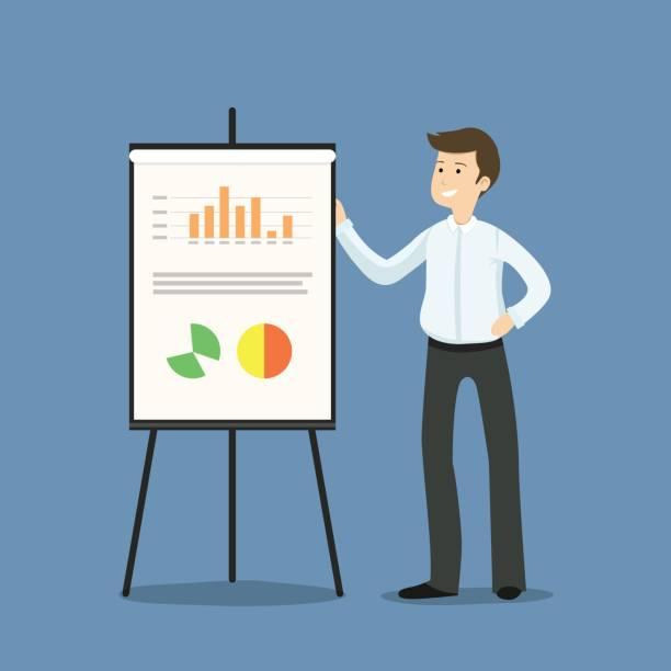 junge unternehmer oder manager stehen neben flipchart, präsentation, grafiken und statistiken - flache vektor-illustration - flipchart stock-grafiken, -clipart, -cartoons und -symbole