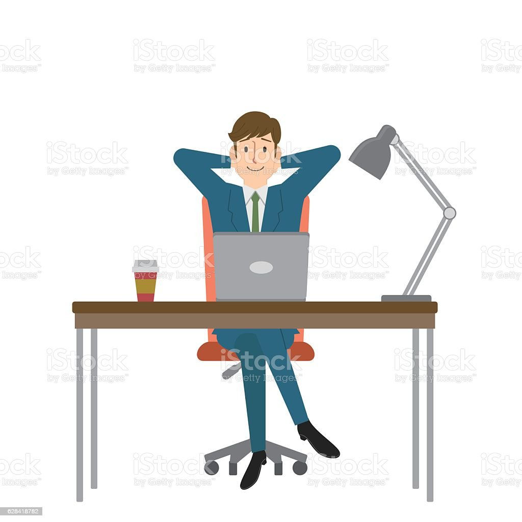 Young businessman relaxing at his desk vector art illustration