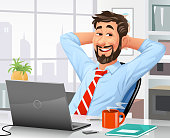 Vector illustration of a young businessman with a beard sitting in his office or at home in front of a laptop, leaning back in his chair and relaxing. Concept for work and relaxation, taking a break, working at home and satisfaction.