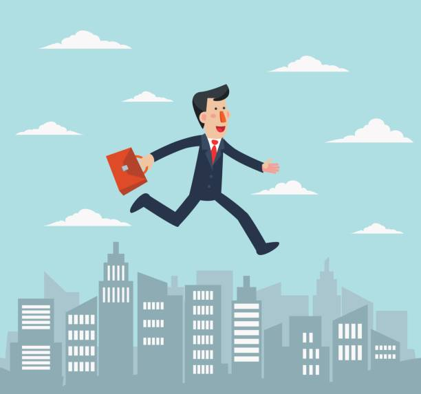 Young businessman running over the city vector art illustration