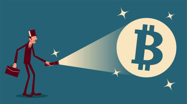 Young businessman shines a flashlight and finds a big cryptocurrency bitcoin sign vector art illustration