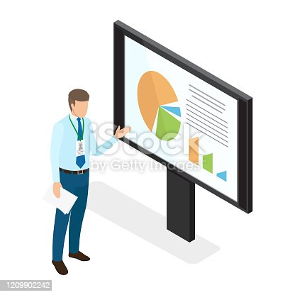 Young businessman showing diagrams on monitor isolated on white. Person dressed in shirt with tie and trousers, name badge hanging on neck. Man s hand pointing on big screen. Vector illustration