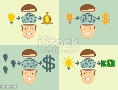994786356 istock photo Young businessman thinking about Employee benefits 911664136