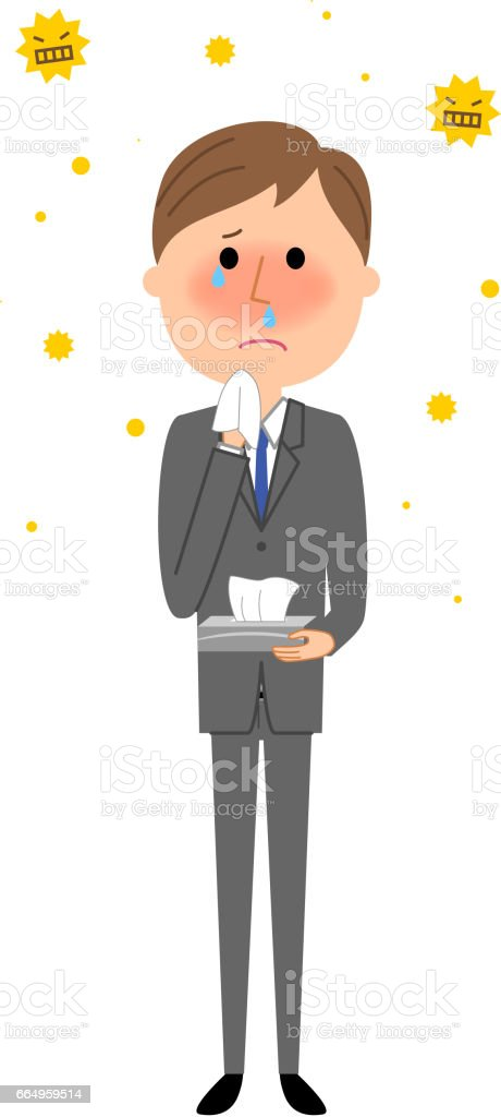 Young businessman,Hay fever vector art illustration