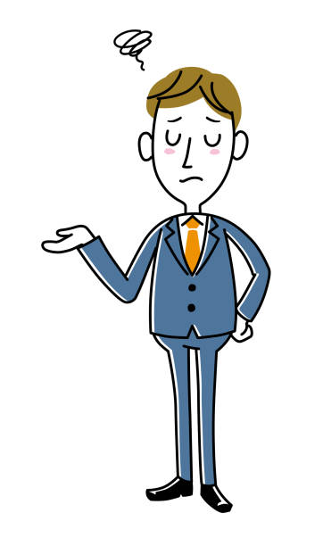 若いビジネスマン-トラブル - 不安点のイラスト素材/クリップアート素材/マンガ素材/アイコン素材