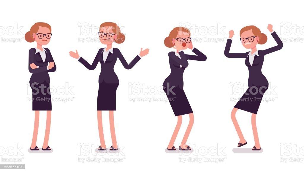 Joven empresaria en desgaste formal de expresar las emociones negativas, diferentes poses - ilustración de arte vectorial