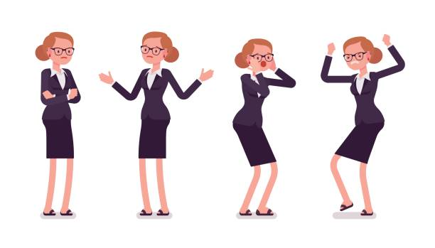 Young businesswoman in formal wear expressing negative emotions, different poses vector art illustration