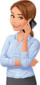 Vector illustration of a cheerful young businesswoman wearing a blue blouse talking on her mobile phone, looking at the camera, isolated on white.