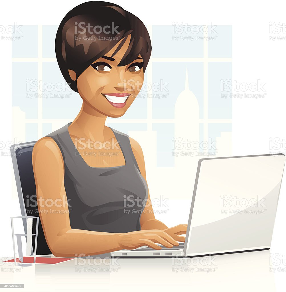 Young Businesswoman Using Laptop vector art illustration