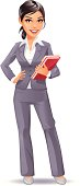 Illustration of a young attractive businesswoman. EPS8, fully editable.